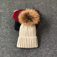 Load image into Gallery viewer, Winter Female Fur Knitted Beanies Cap Hat