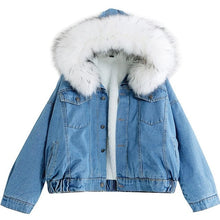 Load image into Gallery viewer, Women's Denim Jacket With Fur Winter Jeans Hooded Velvet Coat Female Faux Fur Collar 2020 Padded Warm Jackets Bomber Windbreake - PrintiLya