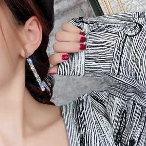 New Korean Dangle Earrings and necklace Geometric Crystal Jewelry For Woman