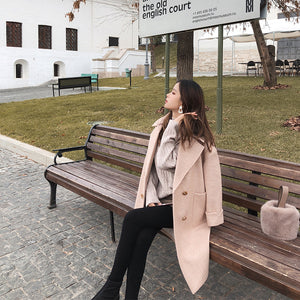 Mishow 2020 autumn and winter woolen coat female Mid-Long New Korean temperament women's popular Outerwear woolen coat - PrintiLya