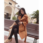 Mishow 2020 autumn and winter woolen coat female Mid-Long New Korean temperament women's popular woolen coat MX17D9636 - PrintiLya