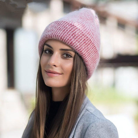 new simple Rabbit fur Beanie Hat for Women