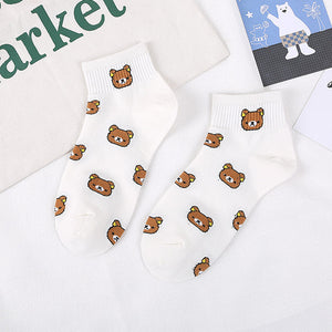 Summer new style, women's cartoon, pure cotton, pure cotton, casual little bear, Korean college wind and women's socks - PrintiLya