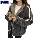 Vangull Women Jacket Winter New Cotton Lamb Velvet Thick Coat 2020 Autumn Casual Female Long Sleeve Side Striped Loose Outerwear - PrintiLya