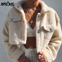 Load image into Gallery viewer, Aproms Elegant Solid Color Cropped Teddy Jacket Women Front Pockets Thick Warm Coat Autumn Winter Soft Short Jackets Female 2020 - PrintiLya