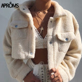 Aproms Elegant Solid Color Cropped Teddy Jacket Women Front Pockets Thick Warm Coat Autumn Winter Soft Short Jackets Female 2020 - PrintiLya