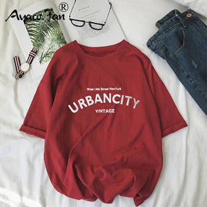 Harajuku Women T-shirts New 2020 Summer Funny Letter Print Hip Hop Loose T-shirt Girls Student Streetwear Casual Lady Tops Tees - PrintiLya
