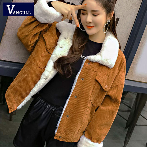 VANGULL Women Winter Jacket Thick Fur Lined Coats Parkas Fashion Faux Fur Lining Corduroy Bomber Jackets Cute Outwear 2020 New - PrintiLya