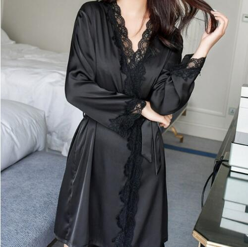 Sexy Robe Sleepwear Women Satin Silk Lace Bathrobe