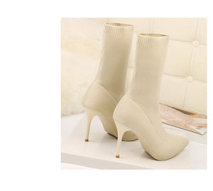 Knitting Stretch Boots High Heels For Women