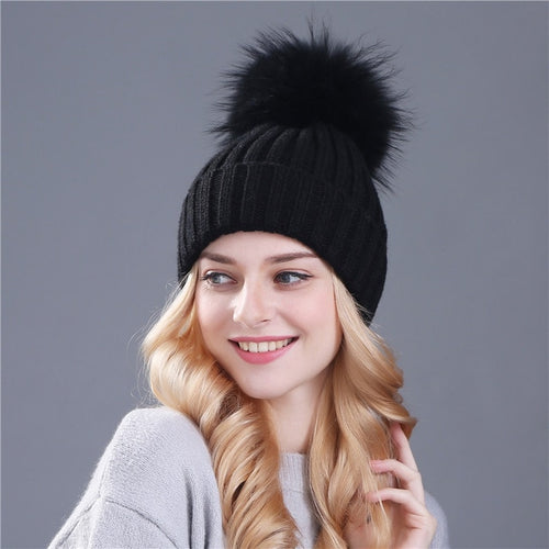 Female Fur Ball Cap knitted Beanies For Winter