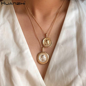 New Chain Necklace Metal Ball Coin Casual Design Long For Women men Jewelry 2020