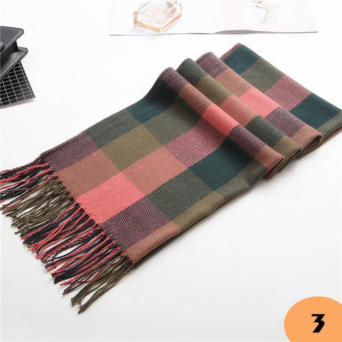 Hot Wool Scarf Cashmere Wide Lattices Blanket for Women