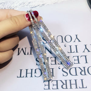 Luxury Long Earrings Geometric Rectangle Rhinestone for Women Jewelry Fashion