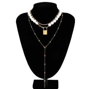 Necklace Pearl Multi Layered Collar Crystal Pendant Women Jewelry