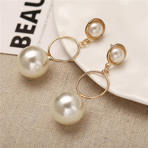 Pearl Hoop Earrings For Women Unique Circle  Fashion Jewelry