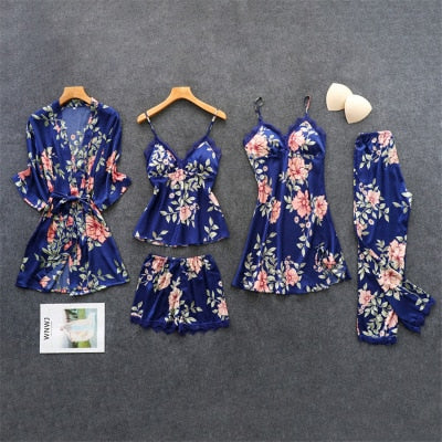 Sexy Lace Pajama Nighty for Women Silk 5Pcs Set Satin
