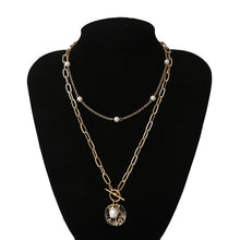 Load image into Gallery viewer, Necklace Pearl Multi Layered Collar Crystal Pendant Women Jewelry