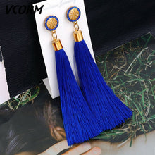 Load image into Gallery viewer, Earrings  Bohemian Tassel Crystal Long for Women Red Cotton Fashion Jewelry 2020