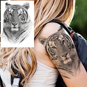 Black Tattoo Sticker with Waterproof Temporary Indian Tribal Mighty african Lion Warrior for Men and Women