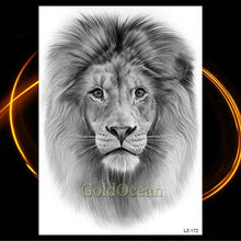 Load image into Gallery viewer, Black Tattoo Sticker with Waterproof Temporary Indian Tribal Mighty african Lion Warrior for Men and Women