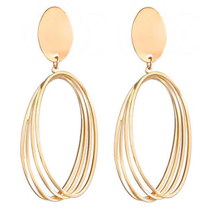 Earrings Metal Geometric For Women Gold Color Hollow Round Hanging Fashion Jewelry 2020