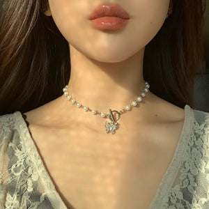 Chain Necklace Pearls Metal Beads for Women Jewelry 2020