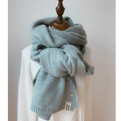 Long Scarf Solid Cashmere Thicken Warm and Soft Knitted Wool for Women