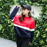 Autumn New Spell Color Stitching Harajuku Women Hoodies Pullover Fleece Loose Female Tracksuits Casual Round Neck Sweatshirt 2XL - PrintiLya