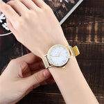 Fashion Silver And Gold Mesh Band Creative Marble Quartz Watch