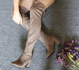 Leather Women High Heels Over The Knee Boots - PrintiLya