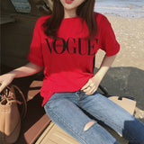 Fashion Summer Girl Short Sleeve Tops Clothes for Women VOGUE Letter Printed Harajuku T Shirt Red Black female T-shirt Camisas - PrintiLya