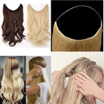 S-noilite 20 inches Invisible Wire No Clips in Hair Extensions Secret Fish Line Hairpieces Silky Straight real natural Synthetic - PrintiLya