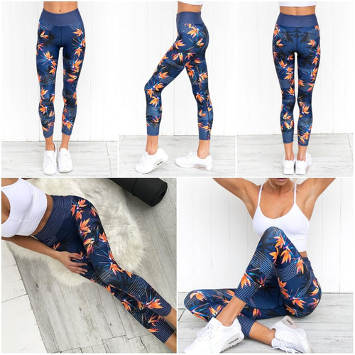 High Waist Yoga Pants Women's Fitness Sport Leggings Stripe Printing Elastic Gym Workout Tights S-XL Running Trousers Plus Size - PrintiLya