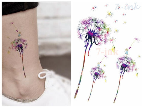 Water Transfer fake tattoo color Dandelion gril tatoo Waterproof Temporary Tattoo flash tatto for gril woman man 10.5*15 cm - PrintiLya
