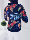 Fashion Ladies Jacket Retro Floral Zipper Up Bomber - PrintiLya