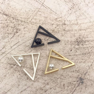 New Punk Zipper Style Unisex Hollow Faux Pearl Open Ear Cuff Single Triangle Earrings Boucles D'oreilles