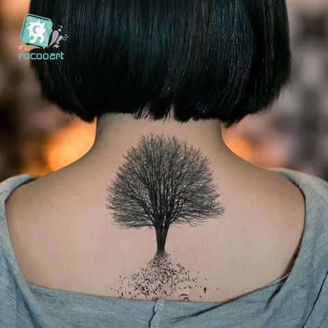 New Arrival Black Palm Tree Tattoo Designs Waterproof Body Temporary Fake Leg Back Tatoo Sticker Good To Cover Scar Tattoo - PrintiLya