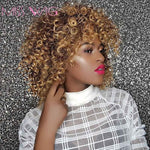 MISS WIG 16Inches Long Afro Kinky Curly Wigs for Black Women Blonde Mixed Brown Synthetic Wigs African Hairstyle Heat Resistant - PrintiLya