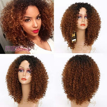 Load image into Gallery viewer, MISS WIG 16Inches Long Afro Kinky Curly Wigs for Black Women Blonde Mixed Brown Synthetic Wigs African Hairstyle Heat Resistant - PrintiLya