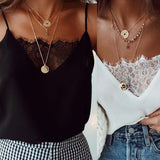 Womens Blouse Tee Lace T-shirts Vest Summer 2019 - PrintiLya