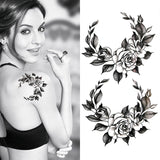 Black big flower Body Art Waterproof Temporary Sexy thigh tattoos rose For Woman Flash Tattoo Stickers 10*20CM - PrintiLya
