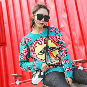 Women New vintage warm sweaters UFO Clouds Jacquard pullovers winter autumn knitted retro loose tops blusas - PrintiLya