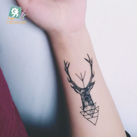 15 Different Color Black Printing Sheep Antelope Tattoo Waterfproof Fake Deer Temporary Fairy Tattoo Sticker For Girls - PrintiLya