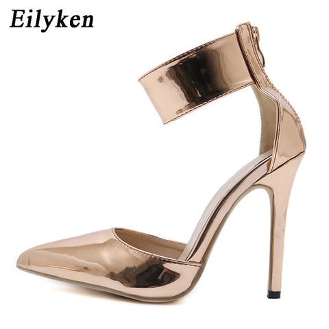 Eilyken Champagne Gladiator Women Pumps Zipper Pointed Toe High Heels Sexy Lady Shoes Thin Heels - PrintiLya