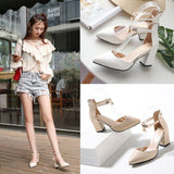HOT Dress Shoes High Heels Boat Shoes Wedding Shoes tenis Summer Women Shoes Pointed Toe Pumps Side with Pearl 7.5CM - PrintiLya