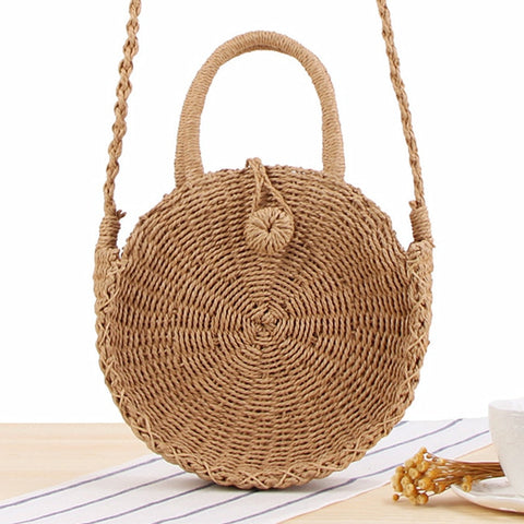 Round Straw Bag Handmade Rattan Woven Vintage Retro Straw Rope Knitted Women Crossbody Handbag Fresh Summer Beach Bag Bohemia - PrintiLya