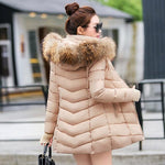 Winter Coats 2019 Parkas for women With a Hood Large Faux Fur Collar - PrintiLya