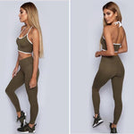 Women Slim Yoga Sets Sleeveless Exercise Shirts Gym Clothes Spandex Running Tights Women Sports Leggings Fitness Yoga - PrintiLya