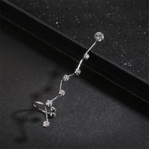 1 Unit Fashion Silver Gold Crystal Ear Cuff Piercing Clip On Earrings Charm Jewelry Bijoux Boucle D'oreille Clip For Women E0497